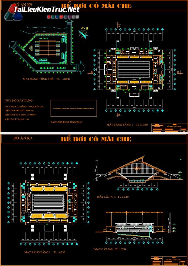 Đồ án K9 kiến trúc sư - Bản vẽ autocad Thiết kế bể bơi có mái che