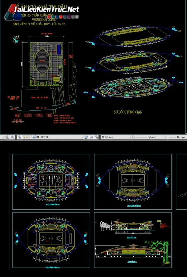 Đồ án kiến trúc sư - Đồ án nhà thi đấu có mái che gồm toàn bộ bản vẽ autocad MS12