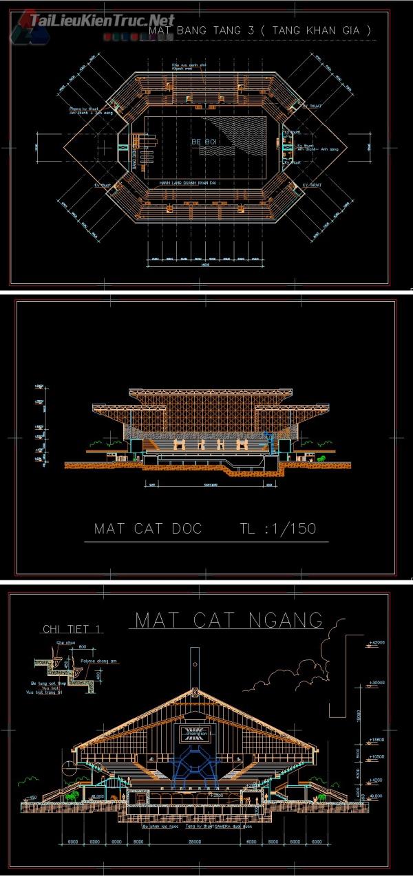Đồ án kiến trúc sư - Đồ án nhà thi đấu bể bơi với bản vẽ autocad MS13