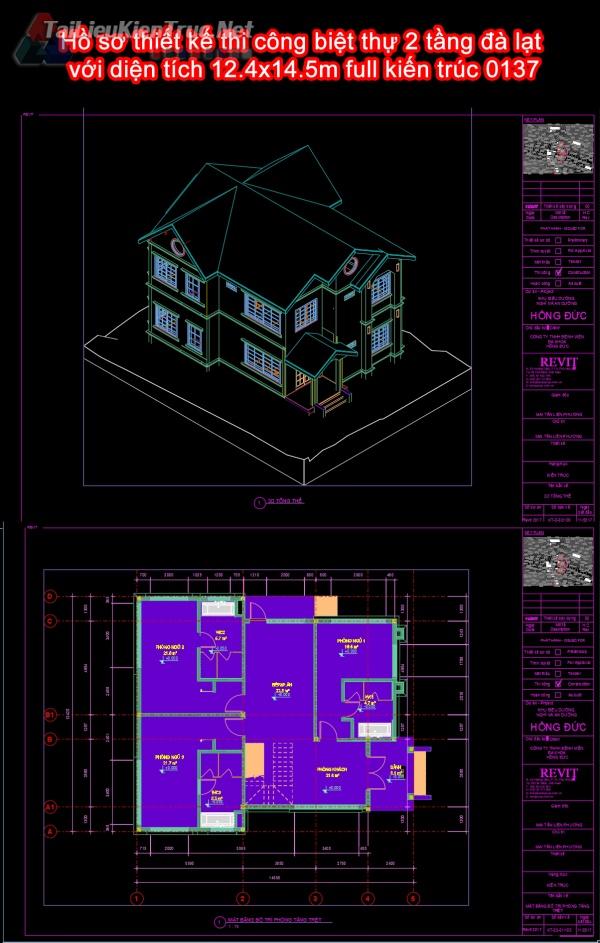 Hồ sơ thiết kế thi công biệt thự 2 tầng đà lạt với diện tích 12.4x14.5m full kiến trúc 0137