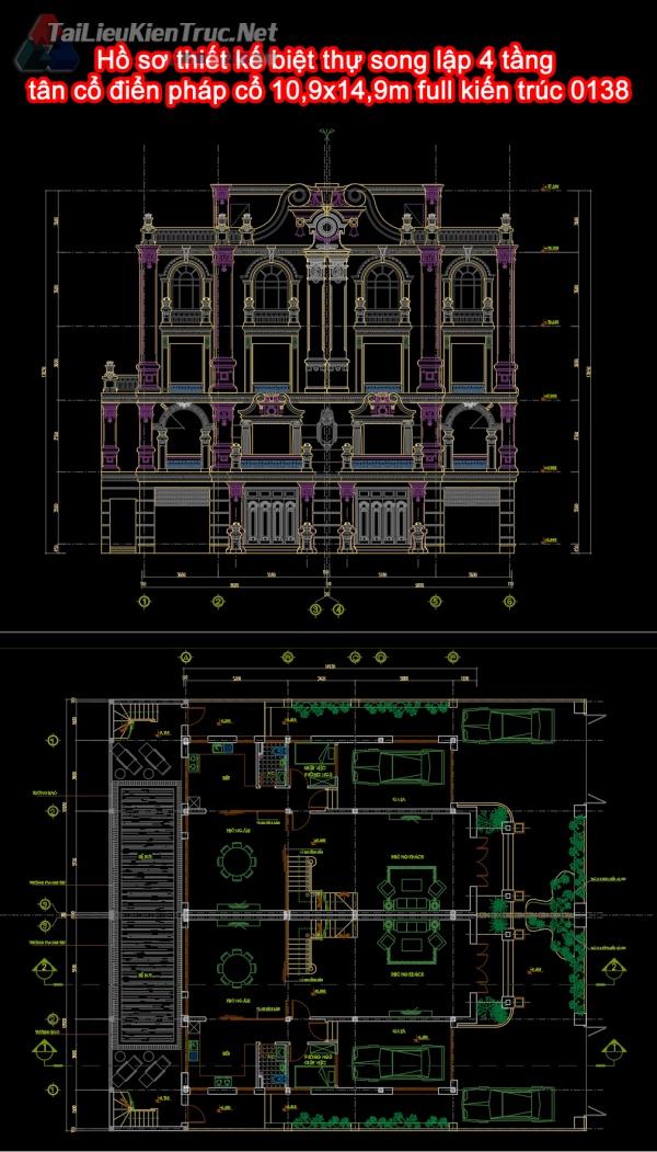 Hồ sơ thiết kế biệt thự song lập 4 tầng tân cổ điển pháp cổ 10,9x14,9m full kiến trúc 0138