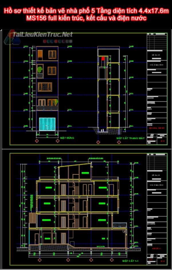 Hồ sơ thiết kế bản vẽ nhà phố 5 Tầng diện tích 4.4x17.6m - 156 full kiến trúc, kết cấu và điện nước