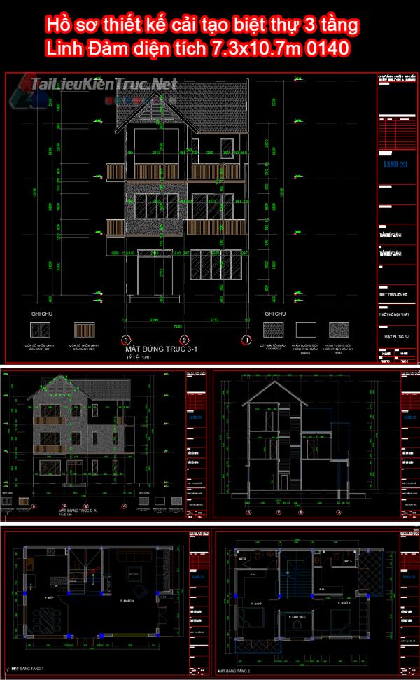 Hồ sơ thiết kế cải tạo biệt thự 3 tầng Linh Đàm diện tích 7.3x10.7m 0140