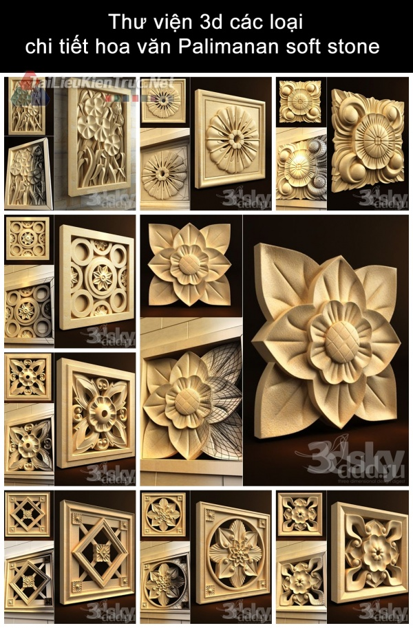 Thư viện 3d các loại chi tiết hoa văn Palimanan soft stone