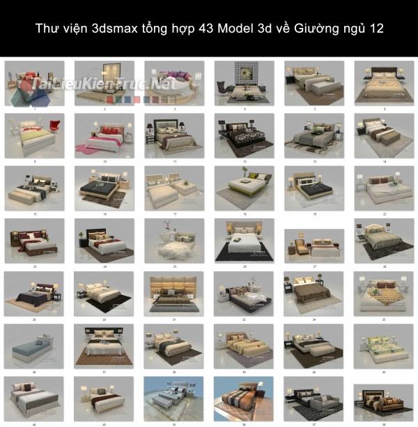 Thư viện 3dsmax tổng hợp 43 Model 3d về Giường ngủ 12