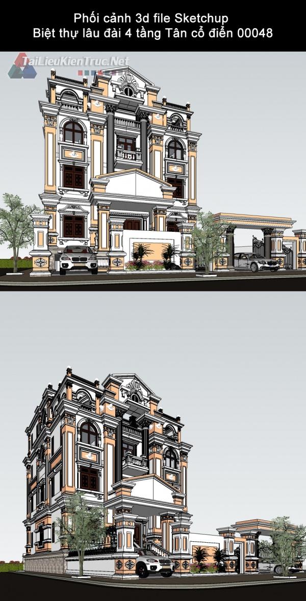 Phối cảnh 3d file Sketchup Biệt thự lâu đài 4 tầng Tân cổ điển 00048