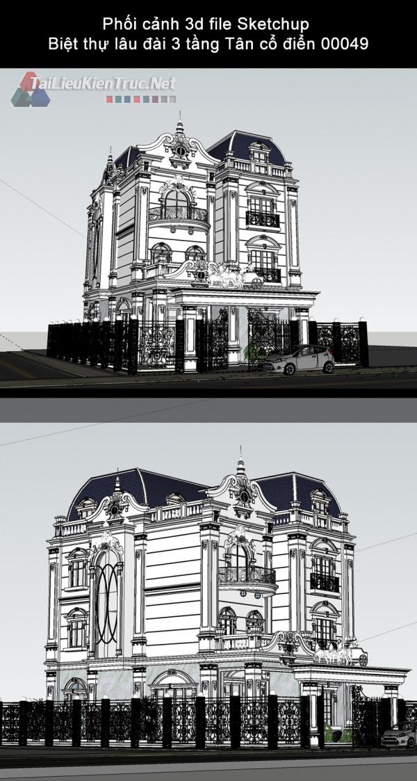 Phối cảnh 3d file Sketchup Biệt thự lâu đài 3 tầng Tân cổ điển 00049