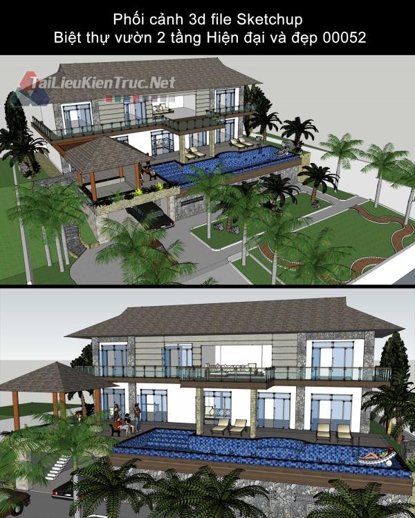 Phối cảnh 3d file Sketchup Biệt thự vườn 2 tầng Hiện đại và đẹp 00052