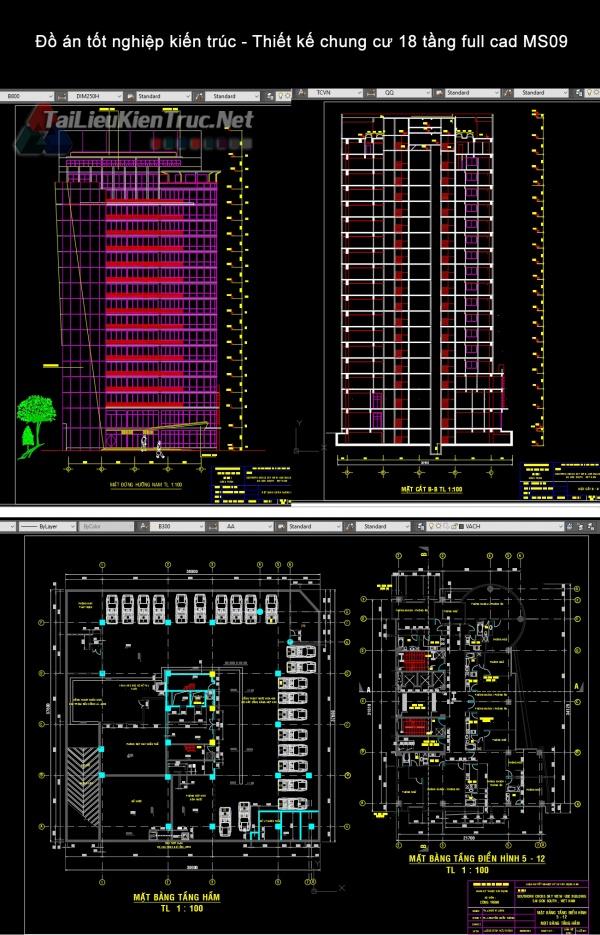 Đồ án tốt nghiệp kiến trúc - Thiết kế chung cư 18 tầng full cad MS09