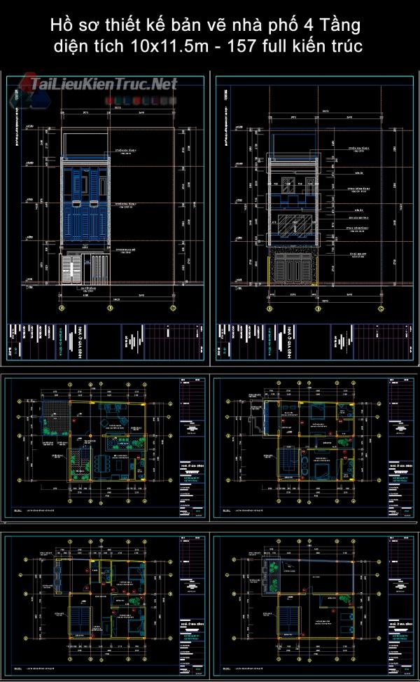 Hồ sơ thiết kế bản vẽ nhà phố 4 Tầng  diện tích 10x11.5m - 157 full kiến trúc