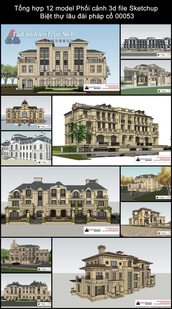 Tổng hợp 12 model Phối cảnh 3d file Sketchup Biệt thự lâu đài pháp cổ 00053