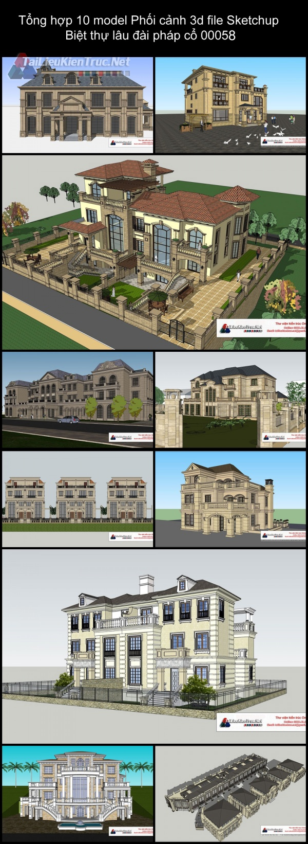 Tổng hợp 10 model Phối cảnh 3d file Sketchup Biệt thự lâu đài pháp cổ 00058
