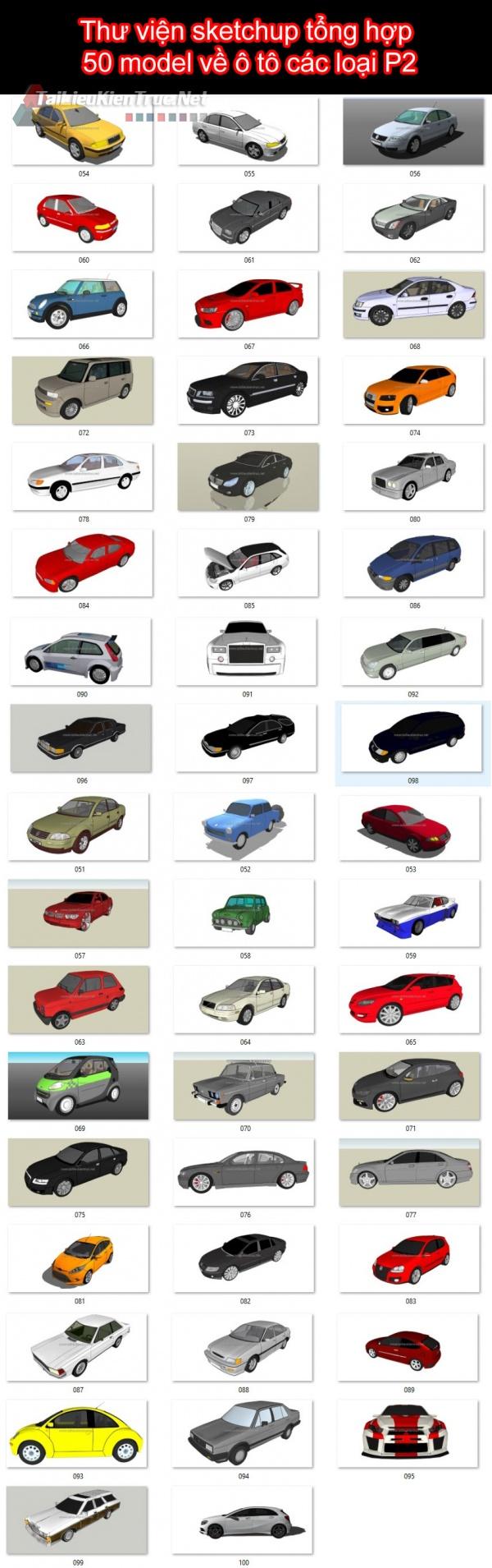 Thư viện sketchup tổng hợp 50 model về ô tô các loại P2