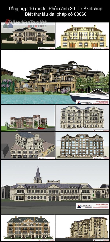 Tổng hợp 10 model Phối cảnh 3d file Sketchup Biệt thự lâu đài pháp cổ 00060