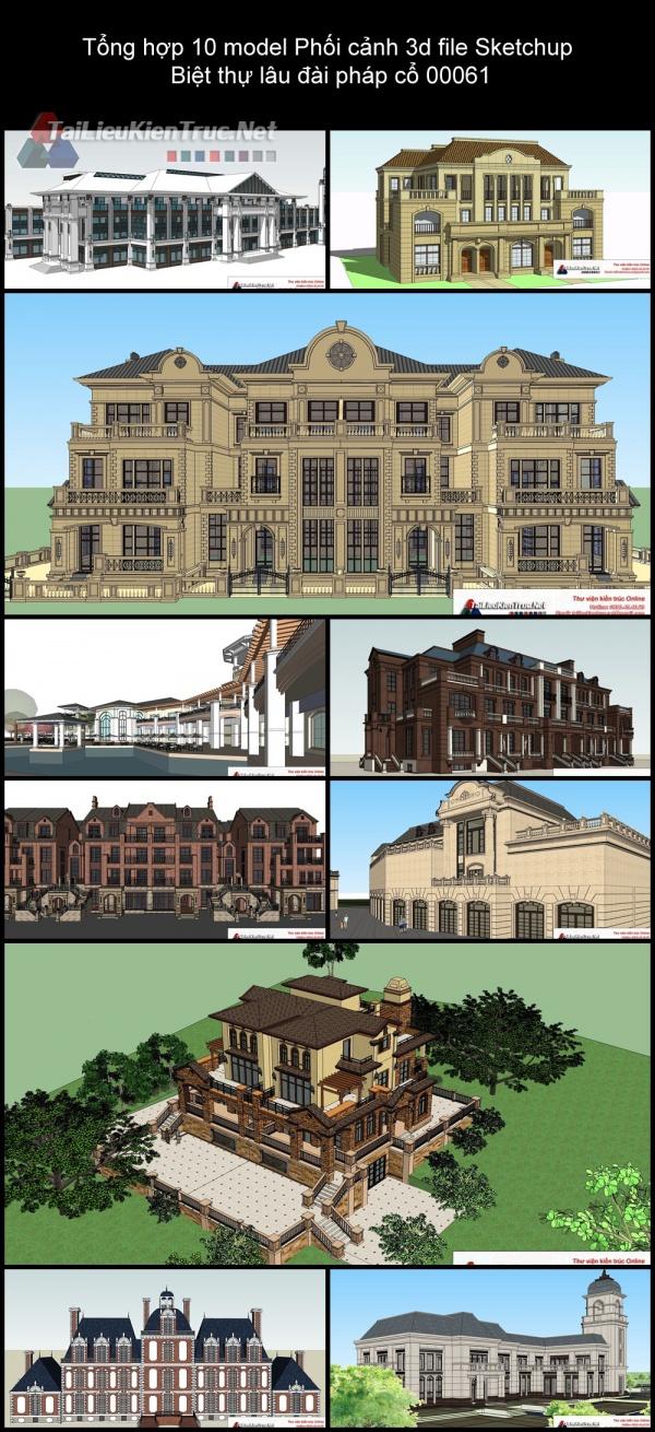 Tổng hợp 10 model Phối cảnh 3d file Sketchup Biệt thự lâu đài pháp cổ 00061