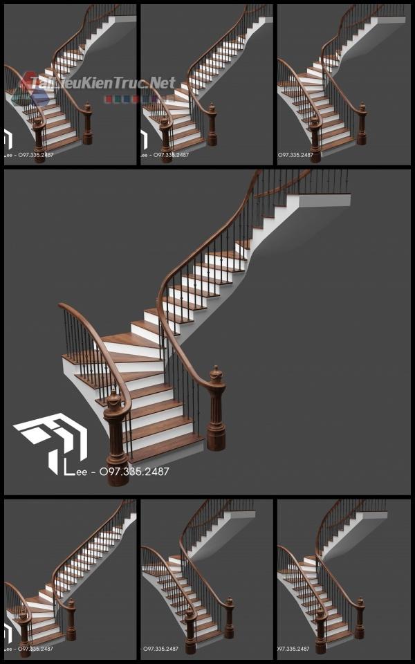 Thư viện 3d model về các kiểu thang mặt bậc ốp gỗ, lan can tay vịn gỗ