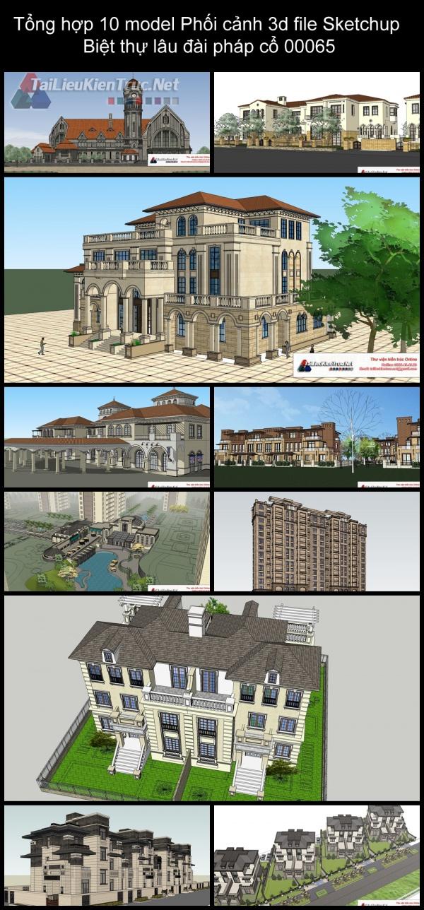 Tổng hợp 10 model Phối cảnh 3d file Sketchup Biệt thự lâu đài pháp cổ 00065