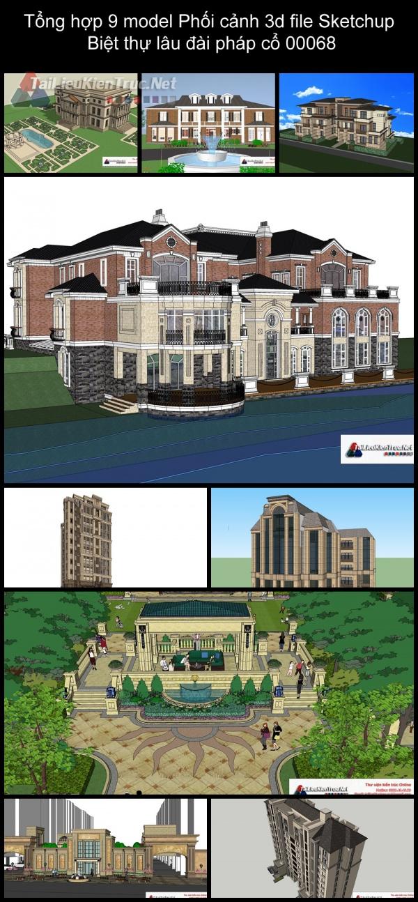 Tổng hợp 9 model Phối cảnh 3d file Sketchup Biệt thự lâu đài pháp cổ 00068