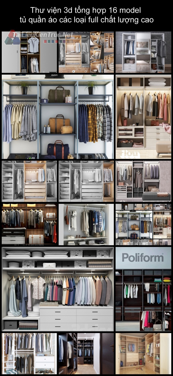 Thư viện 3d tổng hợp 16 model tủ quần áo các loại full chất lượng cao