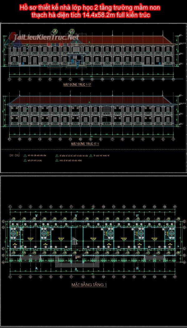 Hồ sơ thiết kế nhà lớp học 2 tầng trường mầm non thạch hà diện tích 14.4x58.2m full kiến trúc