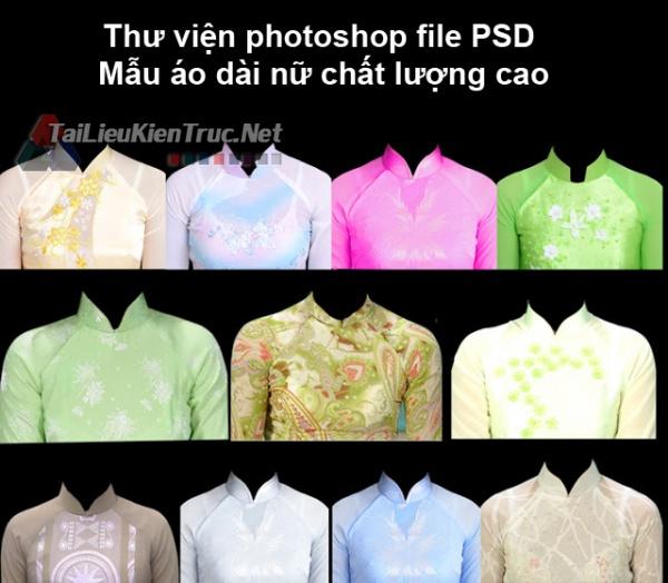 Thư viện photoshop file PSD Mẫu áo dài nữ chất lượng cao