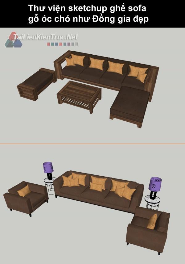 Thư viện sketchup ghế sofa gỗ óc chó như Đồng gia đẹp