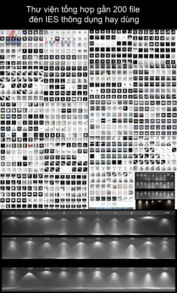 Thư viện tổng hợp gần 200 file  đèn IES thông dụng hay dùng