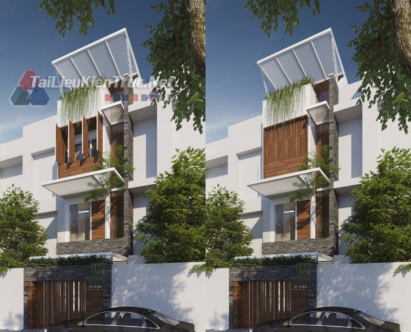 Hồ sơ thiết kế bản vẽ thi công nhà phố 4 tầng 4x16m 169 full các bộ môn