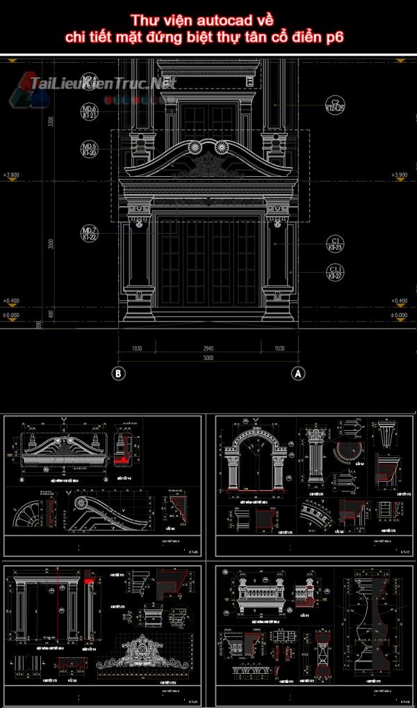 Thư viện autocad về chi tiết mặt đứng biệt thự tân cổ điển p6