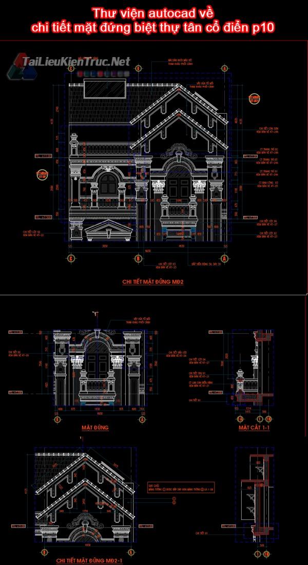 Thư viện autocad về chi tiết mặt đứng biệt thự tân cổ điển p10