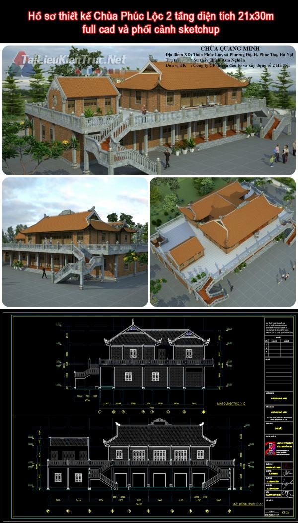 Hồ sơ thiết kế Chùa Phúc Lộc 2 tầng diện tích 21x30m full cad và phối cảnh sketchup