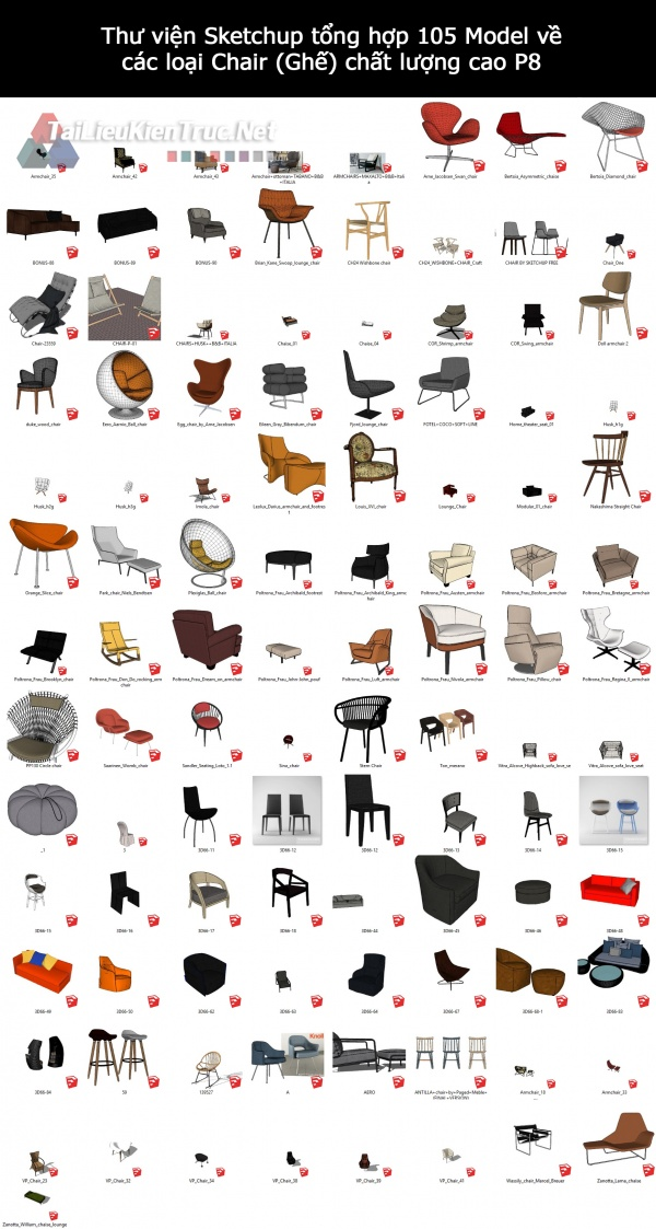 Thư viện Sketchup tổng hợp 105 Model về các loại Chair (Ghế) chất lượng cao P8