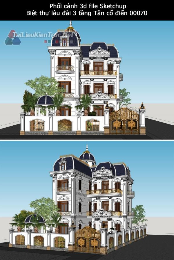 Phối cảnh 3d file Sketchup Biệt thự lâu đài 3 tầng Tân cổ điển 00070
