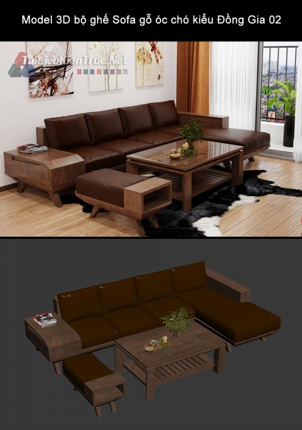 Model 3D bộ ghế Sofa gỗ óc chó kiểu Đồng Gia 02