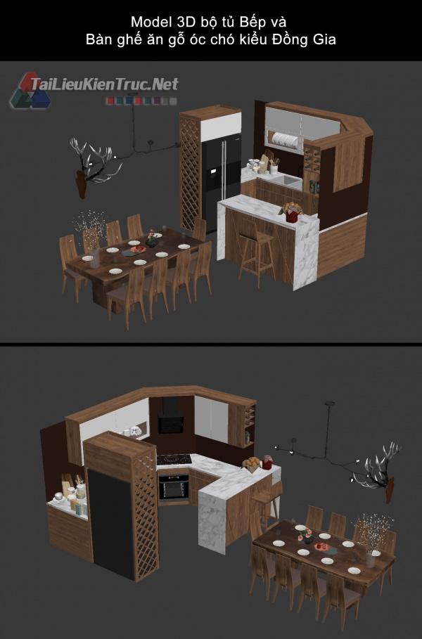 Model 3D bộ tủ Bếp và Bàn ghế ăn gỗ óc chó kiểu Đồng Gia