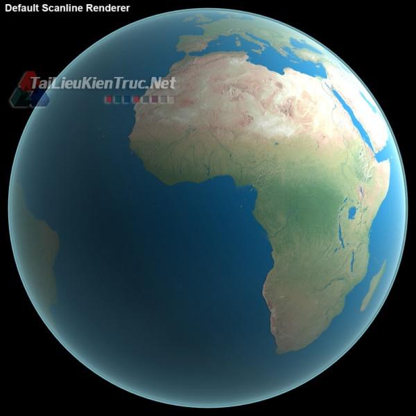 File 3dsmax Mô hình 3D thực tế của Trái Đất (Không có Mây)