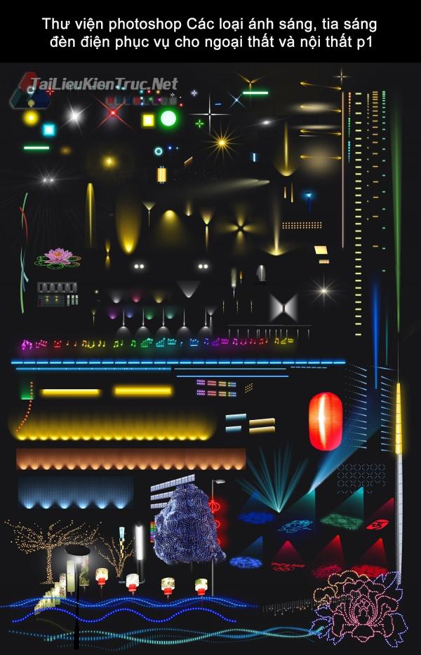 Thư viện photoshop Các loại ánh sáng, tia sáng đèn điện phục vụ cho ngoại thất và nội thất p1