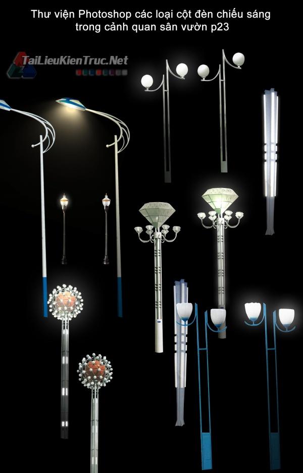 Thư viện Photoshop các loại cột đèn chiếu sáng trong cảnh quan sân vườn p23