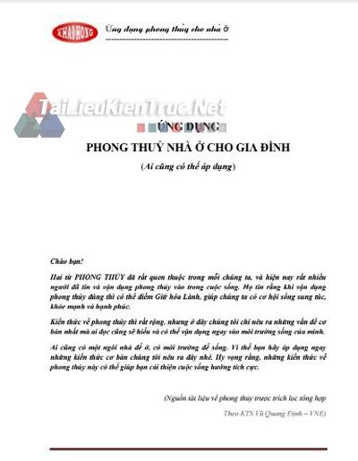 Sách ứng dụng phong thủy nhà ở cho gia đình