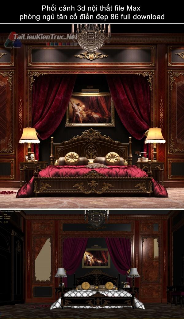 Phối cảnh 3d nội thất file Max phòng ngủ tân cổ điển đẹp 86 full download