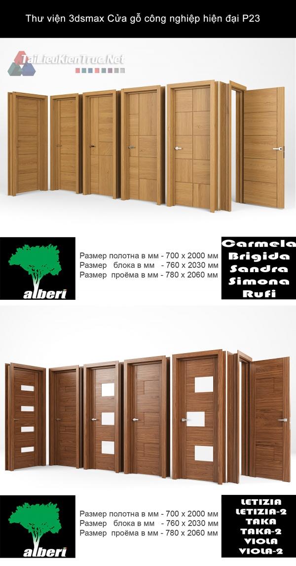Thư viện 3dsmax Cửa gỗ công nghiệp hiện đại P23