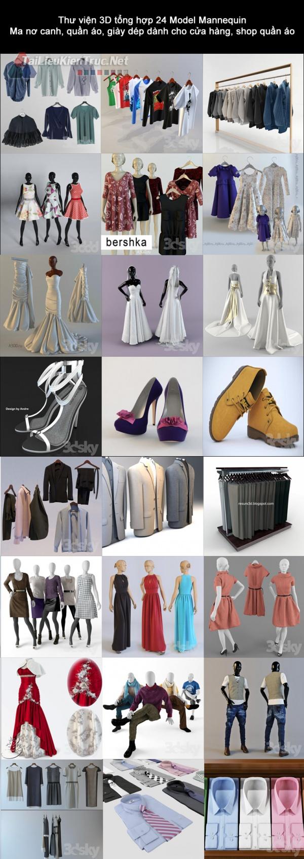 Thư viện 3D tổng hợp 20 Model Mannequin Ma nơ canh, quần áo, giày dép dành cho cửa hàng, shop quần áo
