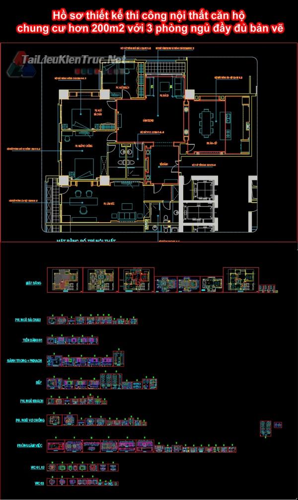 Hồ sơ thiết kế thi công nội thất căn hộ chung cư hơn 200m2 với 3 phòng ngủ đầy đủ bản vẽ