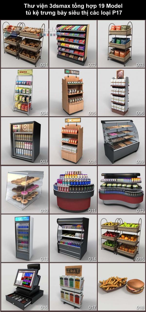 Thư viện 3dsmax tổng hợp 19 Model tủ kệ trưng bày siêu thị các loại P17