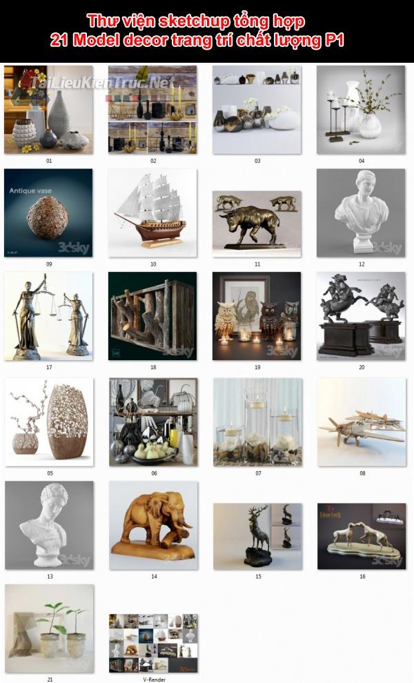 Thư viện sketchup tổng hợp 21 Model decor trang trí chất lượng P1