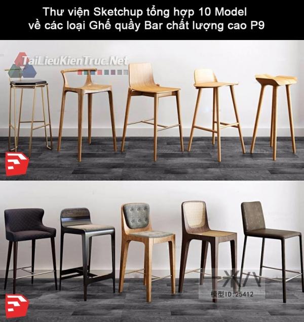 Thư viện Sketchup tổng hợp 10 Model về các loại Ghế quầy Bar chất lượng cao P10