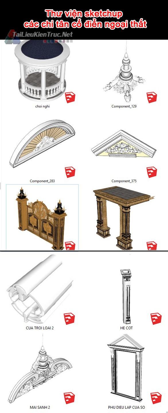 Thư viện sketchup các chi tiết tân cổ điển ngoại thất