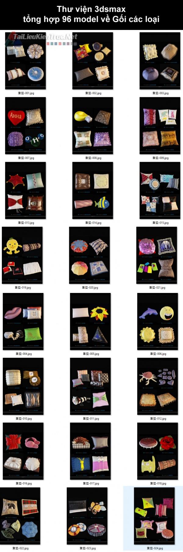 Thư viện 3dsmax tổng hợp 96 model về Gối các loại
