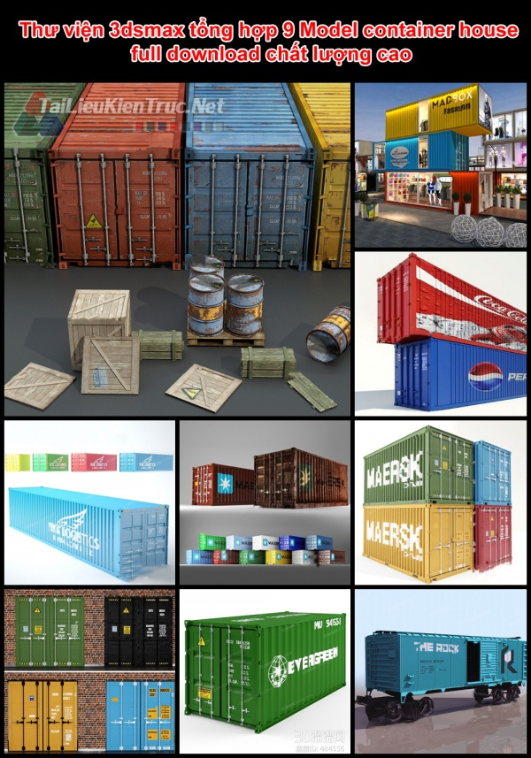 Thư viện 3dsmax tổng hợp 9 Model container house full download chất lượng cao