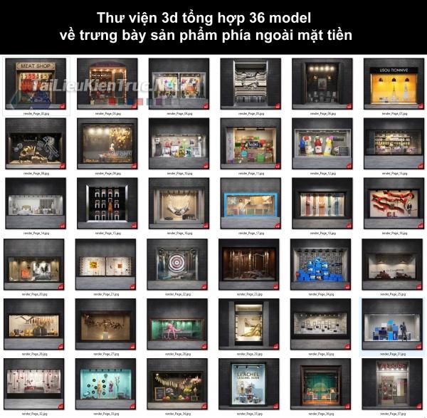Thư viện 3d tổng hợp 36 model về trưng bày sản phẩm phía ngoài mặt tiền